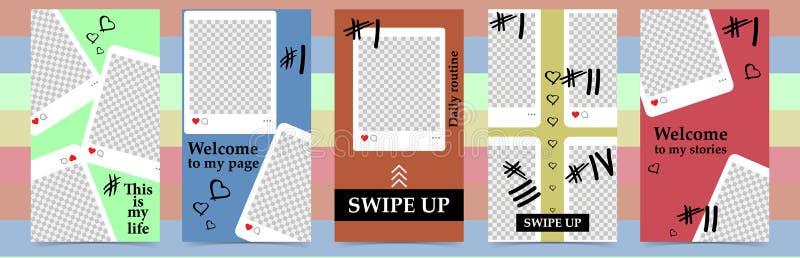 Moldes editáveis na moda para histórias do instagram, venda Fundos do projeto para meios sociais Cartão abstrato tirado mão fotografia de stock royalty free