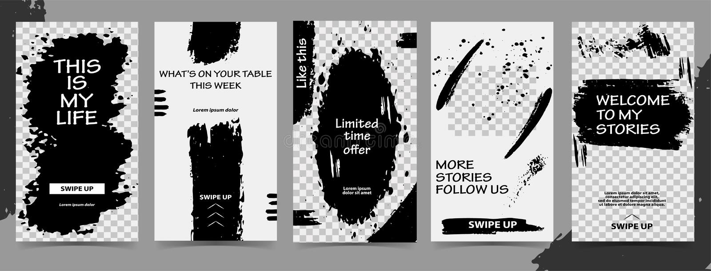 Moldes editáveis na moda para histórias do instagram, venda preta de sexta-feira, presente, ilustração do vetor Fundos do projeto fotos de stock