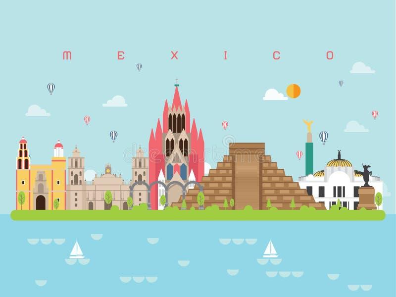 Moldes famosos de Infographic dos marcos de México para a viagem e o ícone, vetor do grupo de símbolo ilustração royalty free