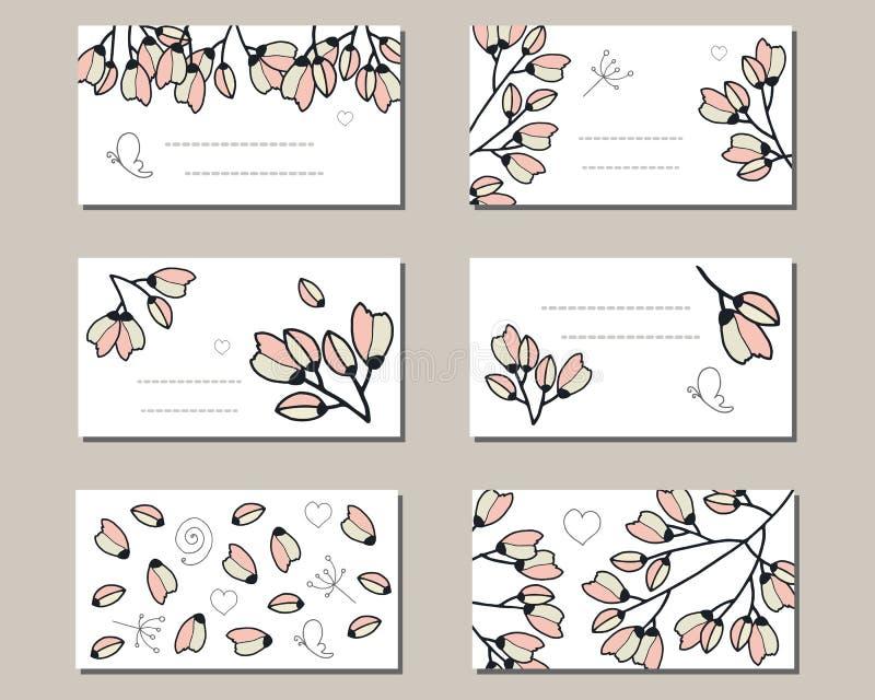Moldes florais com grupos bonitos de flores da cereja da garatuja ilustração stock