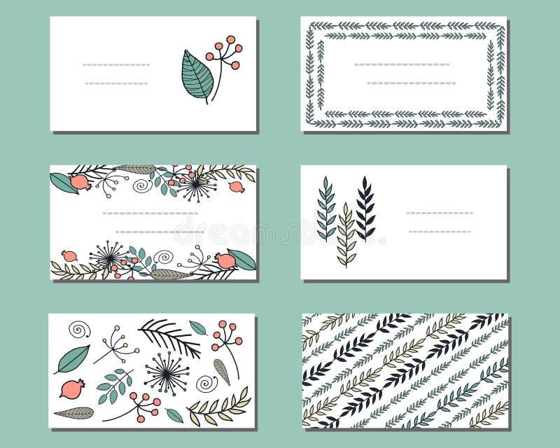 Moldes florais com grupos bonitos de flores da garatuja ilustração stock
