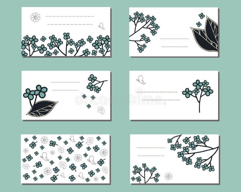 Moldes florais com grupos de flores simples azuis da garatuja ilustração stock