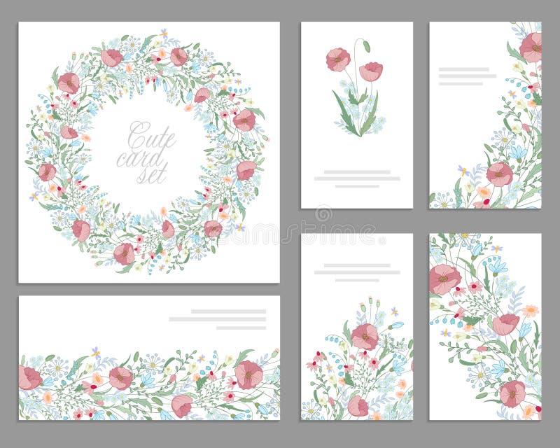 Moldes florais da mola com grupos bonitos de papoilas cor-de-rosa Para o projeto romântico e de easter, anúncios, ilustração do vetor