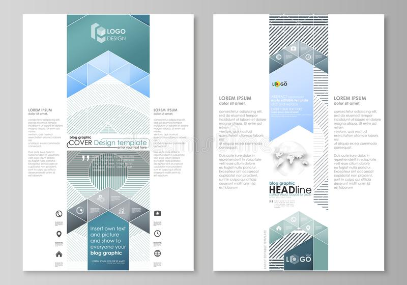 Moldes gráficos do negócio do blogue Molde do projeto do Web site da página, disposição abstrata editável fácil do vetor minimali ilustração do vetor