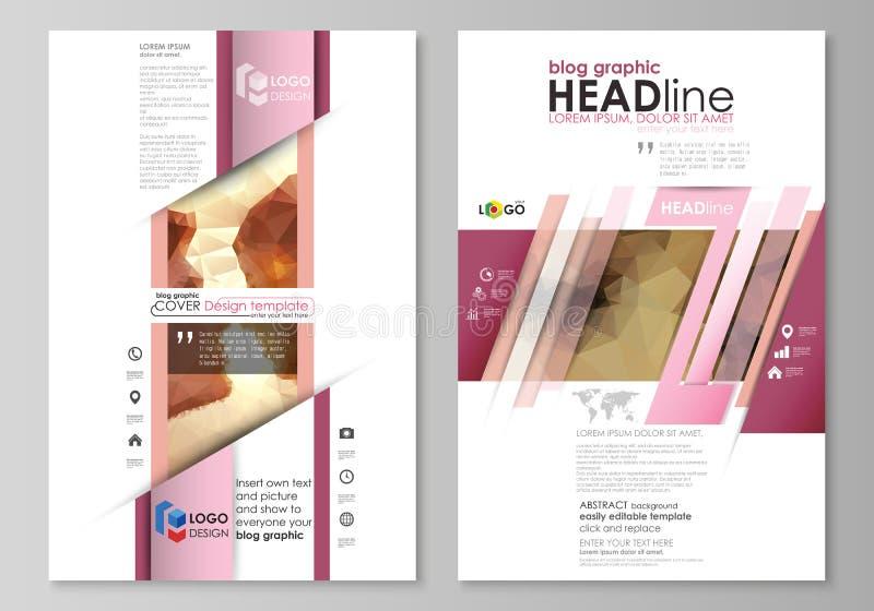 Moldes gráficos do negócio do blogue Molde do projeto do Web site da página, disposição abstrata editável fácil do vetor Pares ro ilustração royalty free