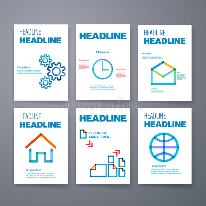 moldes Grupo do projeto de Web, correio, folhetos ilustração do vetor