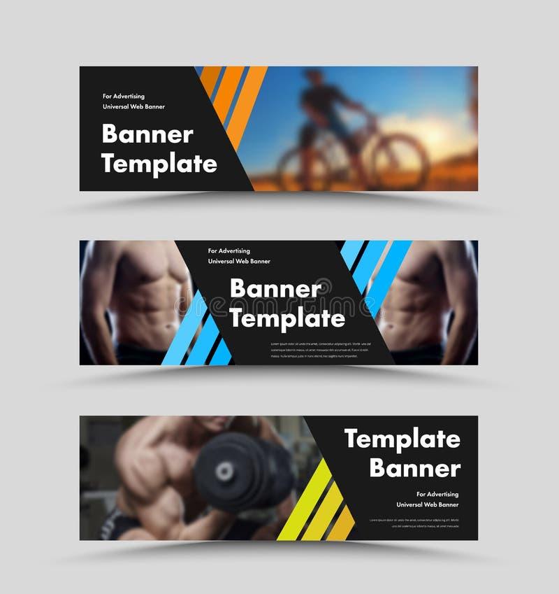 Moldes horizontais da bandeira da Web do preto do vetor com linhas de cor diagonais e espaço para a foto ilustração stock