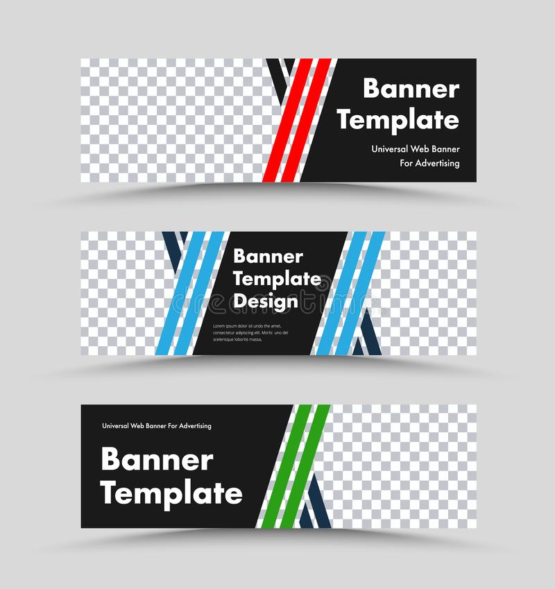 Moldes horizontais da bandeira da Web do preto do vetor com linhas de cor diagonais e lugar para a foto ilustração stock