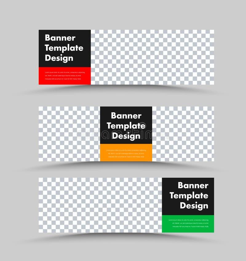 Moldes horizontais da bandeira da Web do vetor preto com espaço da foto e retângulos coloridos para o texto ilustração do vetor