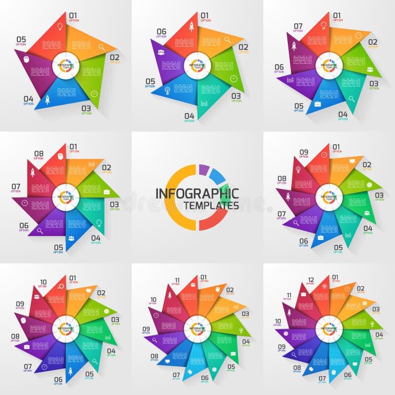 Moldes infographic do círculo do estilo do moinho de vento 5-12 opções ajustadas ilustração royalty free