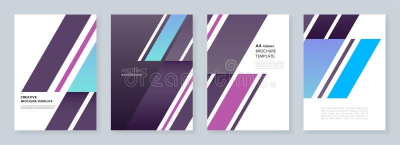 Moldes mínimos do folheto O fundo abstrato com formulário diagonal dinâmico dá forma no estilo minimalistic ilustração do vetor