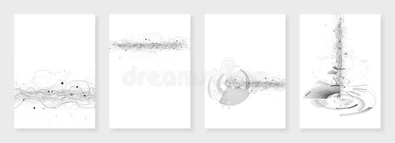 Moldes mínimos do folheto Textura digital abstrata no branco Ficção científica da tecnologia ou conceito médico, projeto abstrato ilustração do vetor