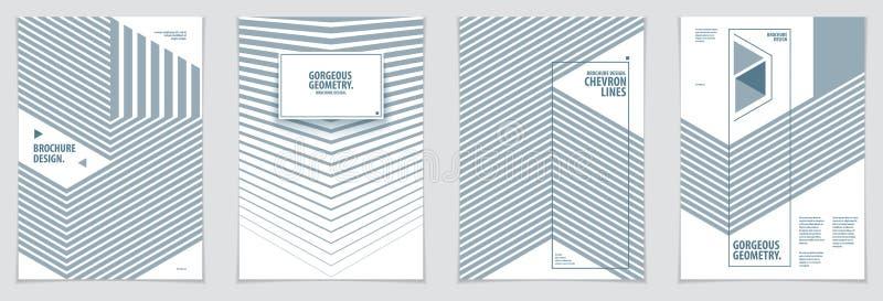 Moldes mínimos futuristas do projeto gráfico dos folhetos Ge do vetor ilustração stock