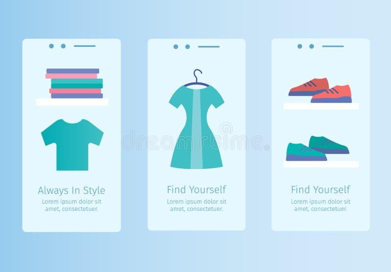 Moldes móveis do app da loja em linha ilustração stock