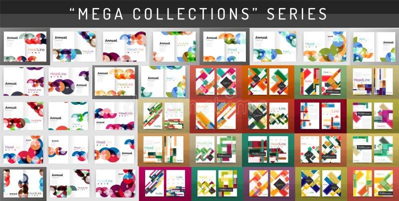 Moldes mega do folheto do informe anual do negócio de coleção ilustração royalty free