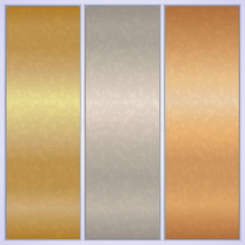 Moldes metálicos da bandeira da textura do vetor ilustração stock