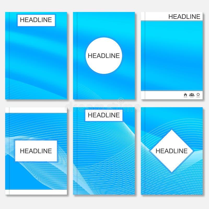 Moldes modernos do vetor para o folheto, o inseto, o compartimento da tampa ou o relatório no tamanho A4 Linhas curvadas sumário  ilustração royalty free