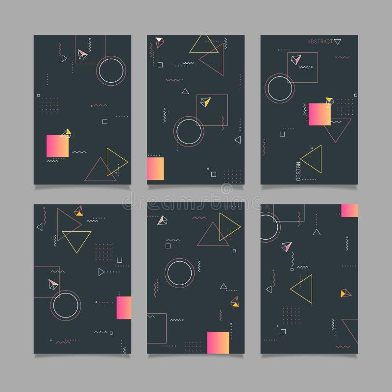 Moldes na moda abstratos das bandeiras do projeto geométrico do vetor ilustração royalty free