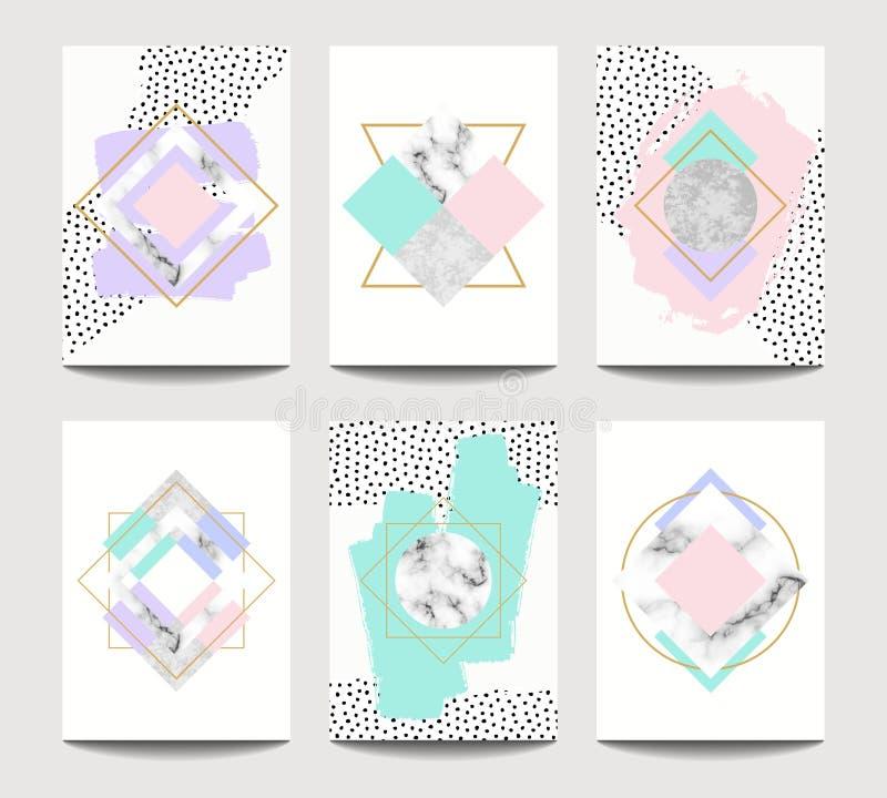 Moldes na moda do folheto do vetor com geometria lisa ilustração do vetor