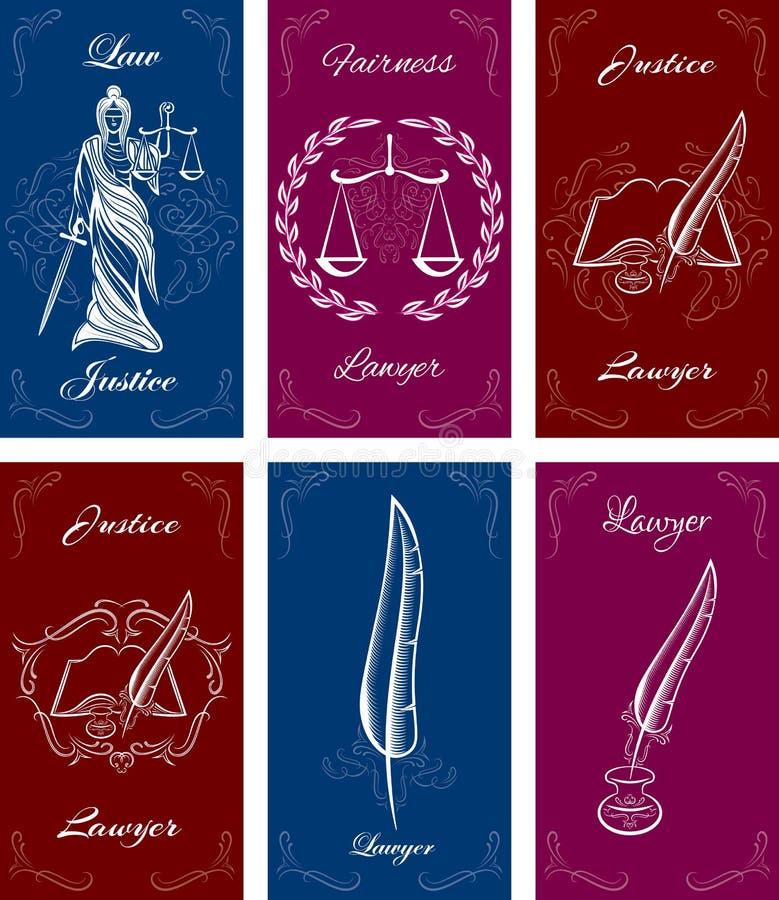 Moldes para cartões na lei ilustração stock