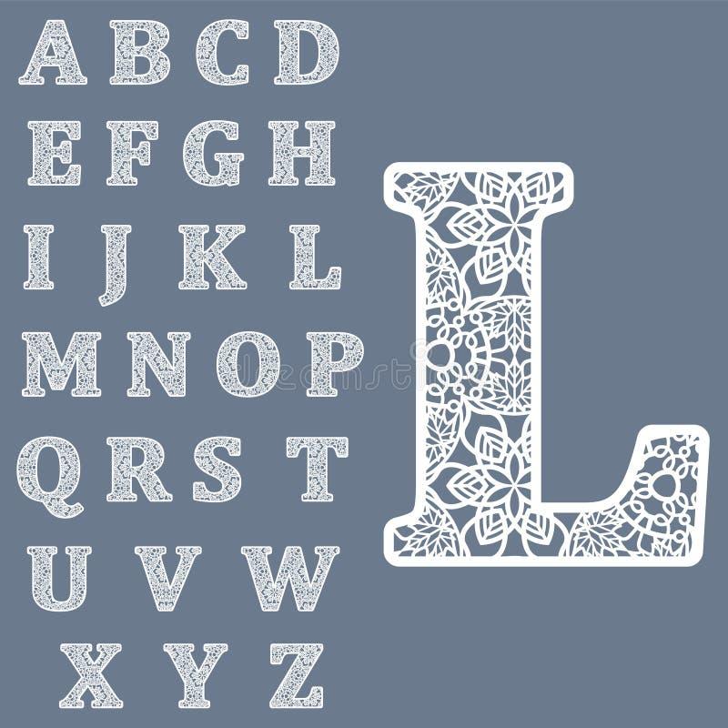 Moldes para cortar letras Alfabeto inglês completo Pode ser usado para o corte do laser Letras extravagantes do laço ilustração do vetor
