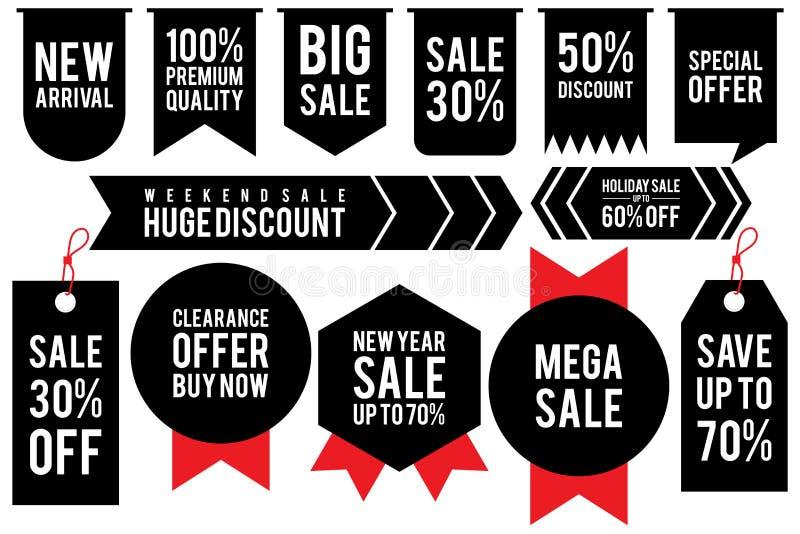 Moldes pretos ajustados da etiqueta do disconto da etiqueta com porcentagens diferentes e a fita vermelha ilustração stock