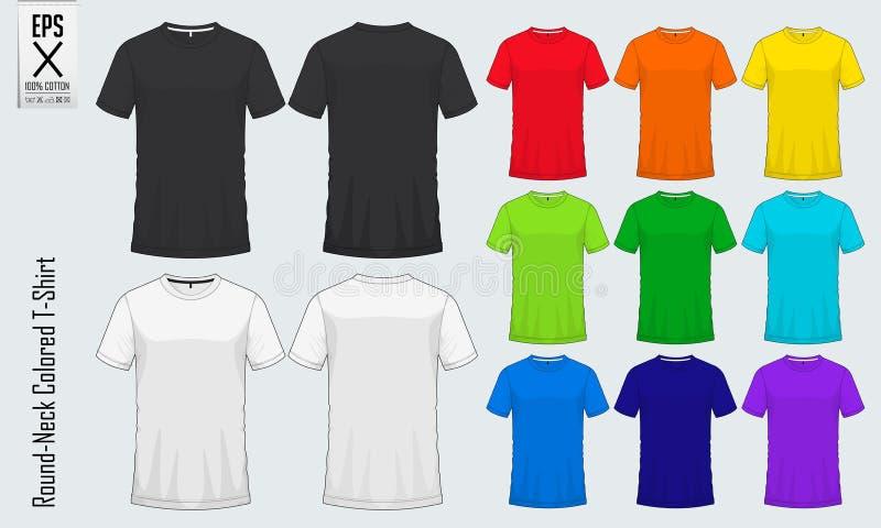 Moldes redondos dos t-shirt do pescoço Modelo colorido da camisa na vista dianteira e na vista traseira para o basebol, futebol,  ilustração do vetor
