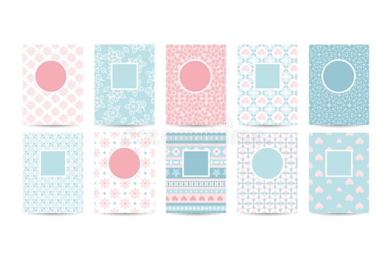 Moldes românticos do cartão com testes padrões cor-de-rosa ilustração royalty free