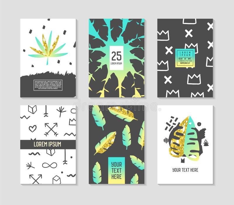Moldes tropicais abstratos do cartaz ajustados com folhas de palmeira e elementos dourados Forma 80s-90s Memphis Style do moderno ilustração royalty free