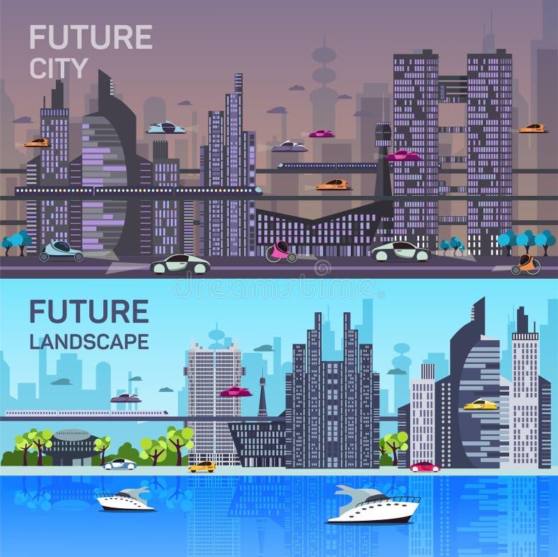 Moldes urbanos ocupados da arquitetura da cidade com moderno ilustração do vetor