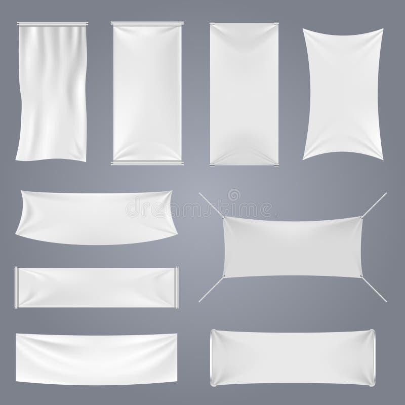 Moldes vazios brancos do vetor das bandeiras da propaganda de matéria têxtil ilustração royalty free