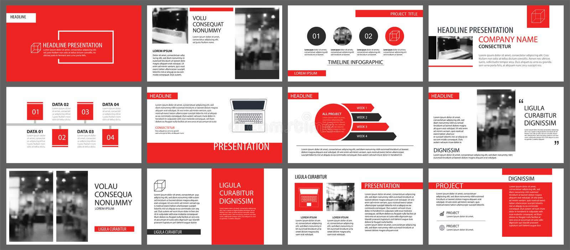 Moldes vermelhos da apresentação para o fundo da apresentação de diapositivos Infographi ilustração royalty free