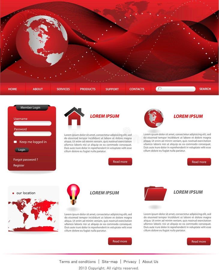 Moldes vermelhos do Web site ilustração stock