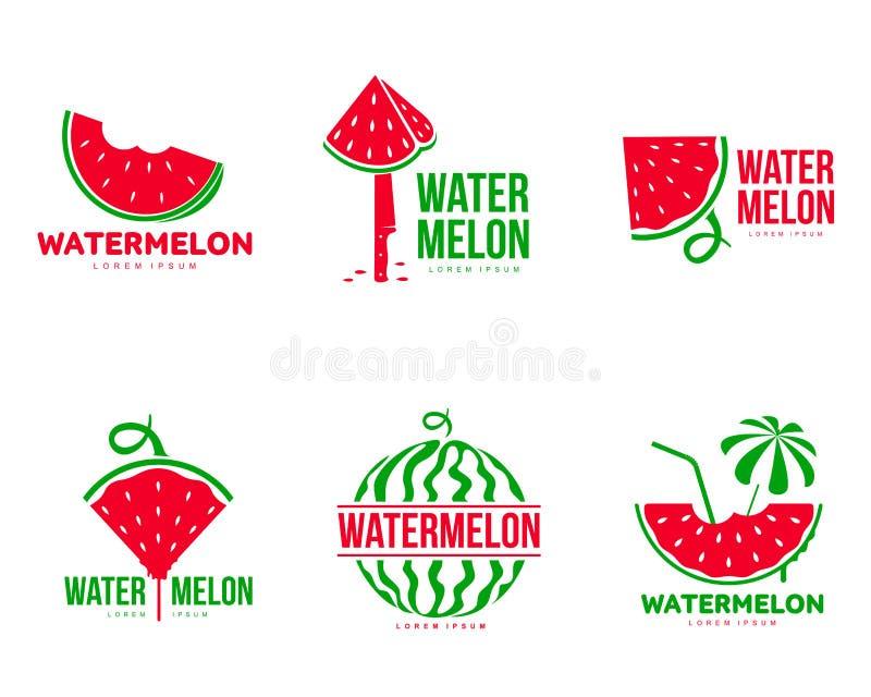 Moldes vermelhos e verdes gráficos do logotipo da melancia, temporada de verão, empresa do fruto ilustração royalty free