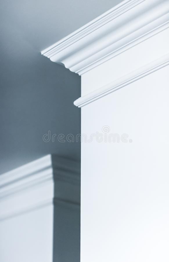 Molding on ceiling detail, interior design and architectural abstract background stock photography