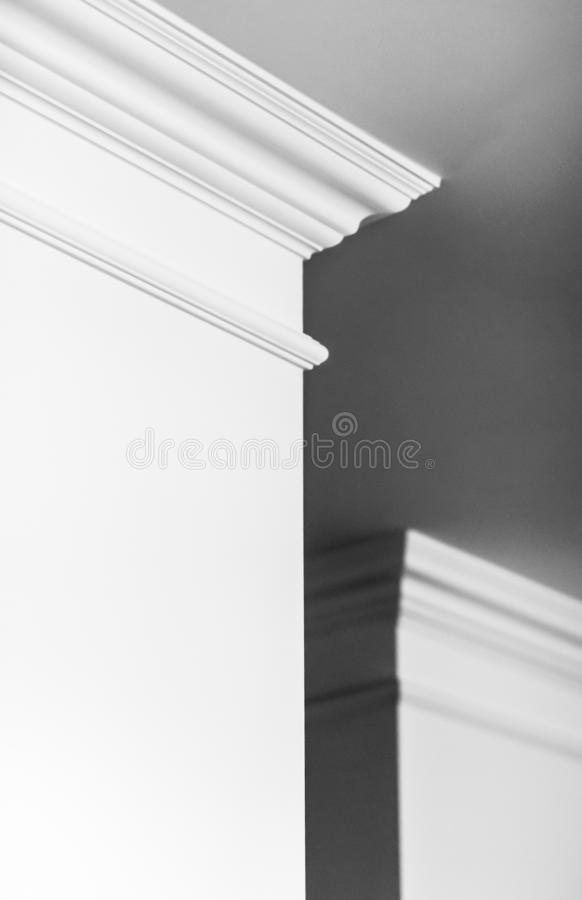 Molding on ceiling detail, interior design and architectural abstract background stock photos