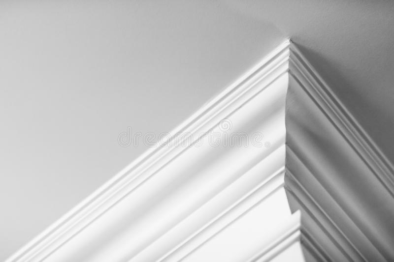 Molding on ceiling detail, interior design and architectural abstract background stock photo