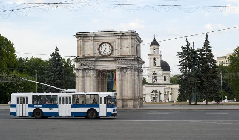 Moldova arc and bus royalty free stock photography