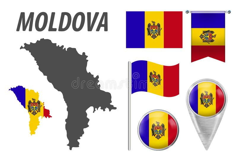 MOLDOVA. Collection of symbols in colors national flag on various objects isolated on white background. Flag, pointer, button, stock illustration