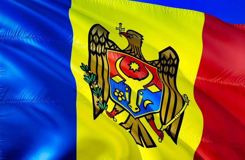 Moldova flaga 3D falowania flaga projekt Krajowy symbol Moldova, 3D rendering Obywatelów kolory i Krajowa Europa flaga royalty ilustracja