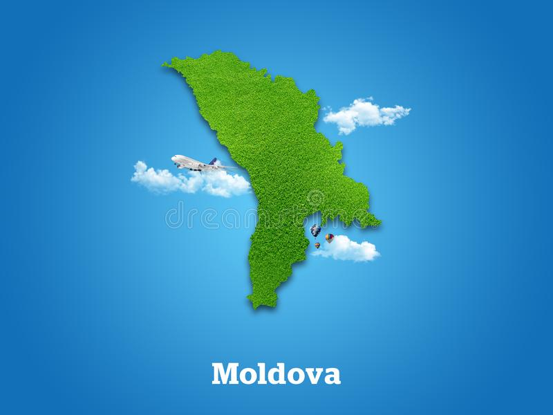 Moldova Map. Green grass, sky and cloudy concept. stock photo