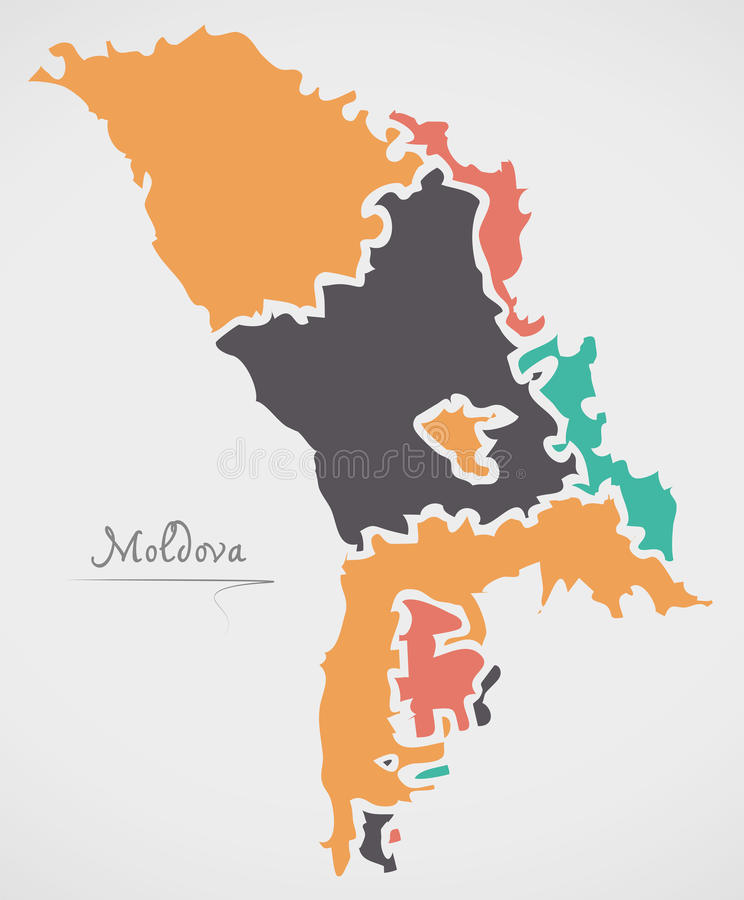Moldova Map with states and modern round shapes. Illustration stock illustration