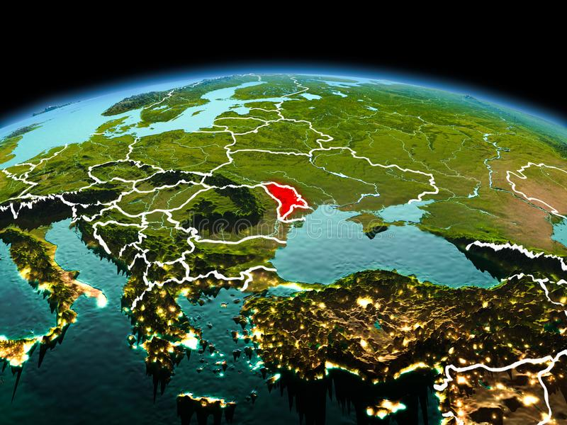 Moldova on planet Earth in space. Morning above Moldova highlighted in red on model of planet Earth in space with visible border lines and city lights. 3D royalty free stock photo