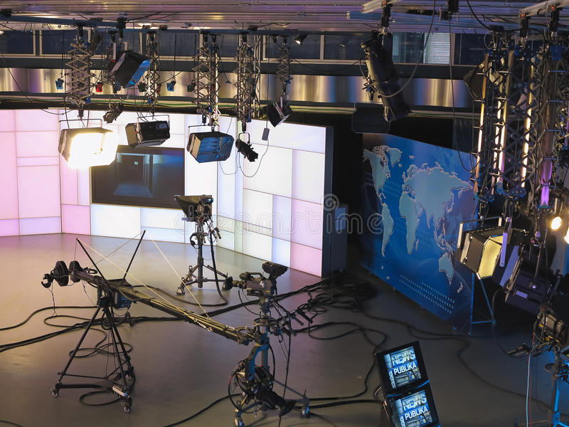 13.04.2014, MOLDOVA, Publika TV NEWS studio with light equipment ready for recordind release.  royalty free stock photography