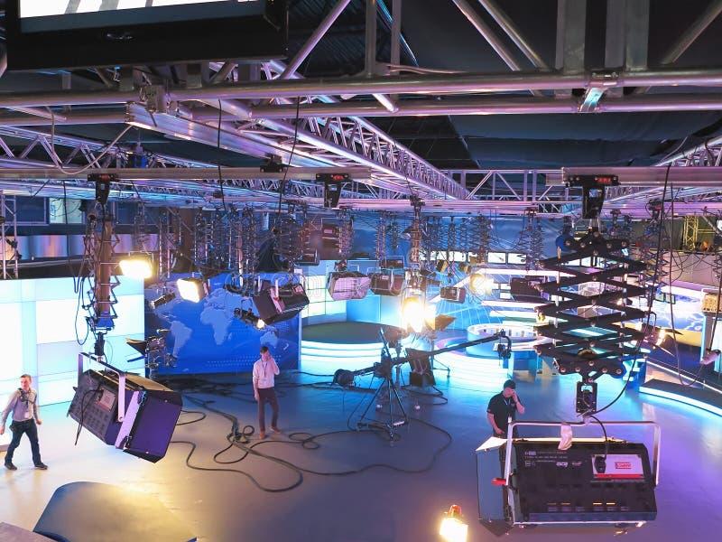 13.04.2014, MOLDOVA, Publika TV NEWS studio with light equipment ready for recordind release stock photos