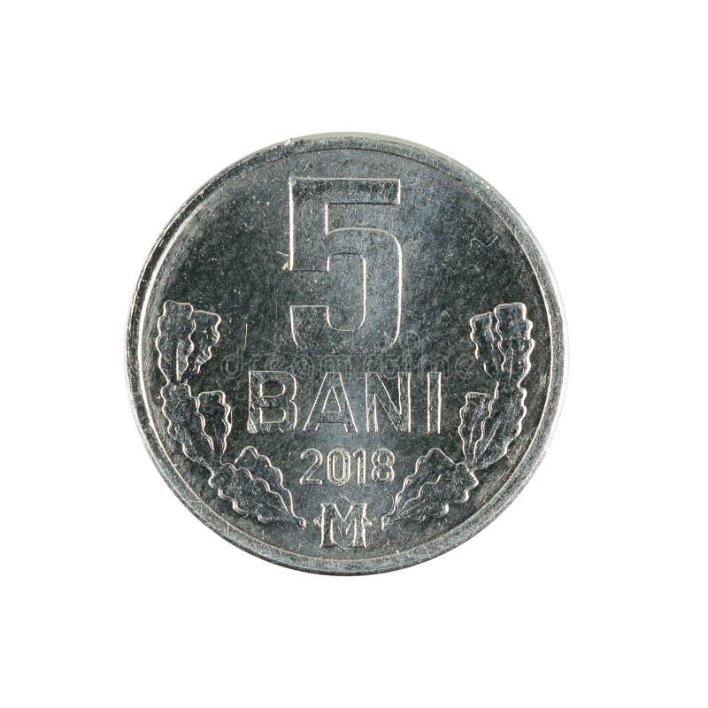 5 moldovan bani coin 2018 obverse isolated on white background. Single 5 moldovan bani coin 2018 obverse isolated on white background royalty free stock images