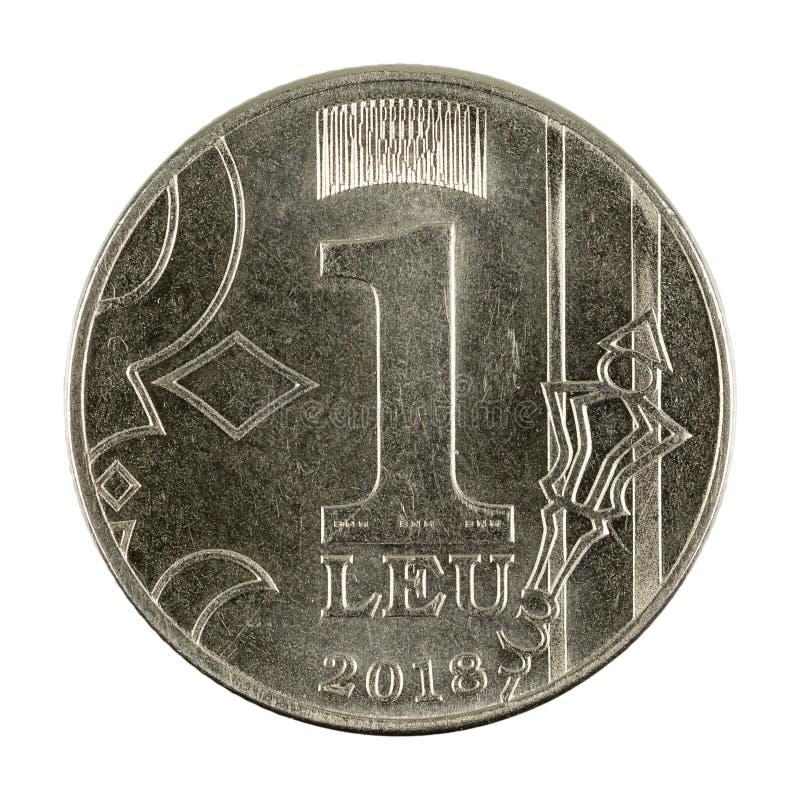 1 moldovan leu coin 2018 obverse isolated on white background. Single 1 moldovan leu coin 2018 obverse isolated on white background stock image