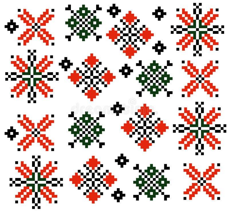 Moldovan Rumuńskiego etnicznego ornamentu wzoru ustalony inkasowy wektor ilustracji