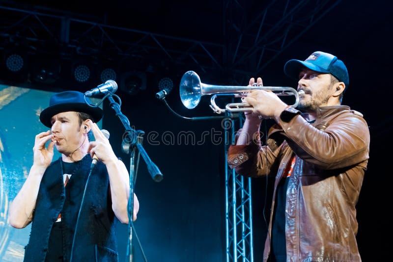 Moldovian folk rock group Zdob si Zdub performance at live concert in Nemyriv, Ukraine, 21.10.2017, editorial photo. Moldovian folk rock group Zdob si Zdub royalty free stock photo