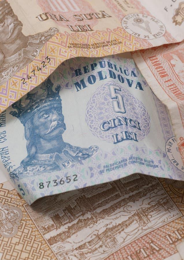 Moldovische munt in een stapel. stock foto